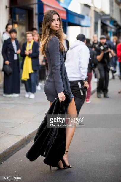 Model Cindy Mello is seen after the Jacquemus show on September 24 2018 in Paris France