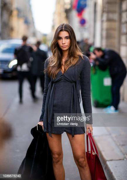 Model Cindy Mello is seen outside Jacquemus during Paris Fashion Week Womenswear Spring/Summer 2019 on September 24 2018 in Paris France