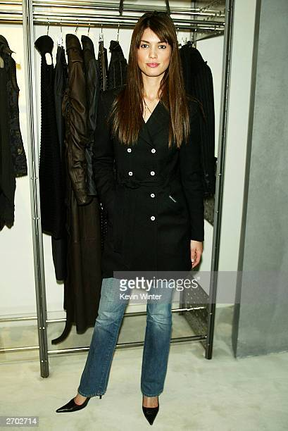 A Model Cinthia Moura poses at a party held at Ferre Rodeo Store on November 5 2003 in Beverly Hills California