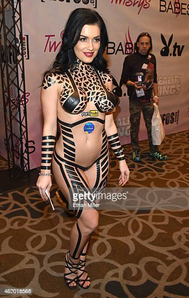 Model CJ Sparxx poses for photos dressed in electrical tape at the 2015 AVN Adult Entertainment Expo at the Hard Rock Hotel Casino on January 22 2015...