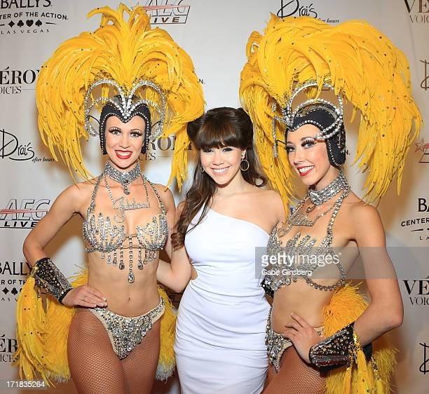 Model Claire Sinclair and the Jubilee showgirls arrive at the premiere of the show Veronic Voices at Bally's Las Vegas on June 28 2013 in Las Vegas...