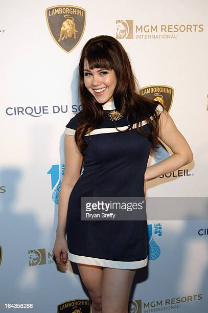 Model Claire Sinclair arrives at Cirque du Soleil's One Night for ONE DROP at Hyde Bellagio at the Bellagio on March 22 2013 in Las Vegas Nevada
