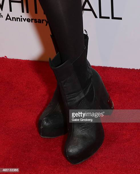 Model Claire Sinclair arrives at Nevada Ballet Theatre presents 'The Black White Ball's 30th Anniversary' at the Aria Resort Casino at CityCenter on...