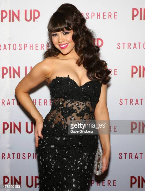 Model Claire Sinclair arrives at the anniversary celebration of the show 'Pin Up' at the Stratosphere Casino Hotel on March 13 2014 in Las Vegas...