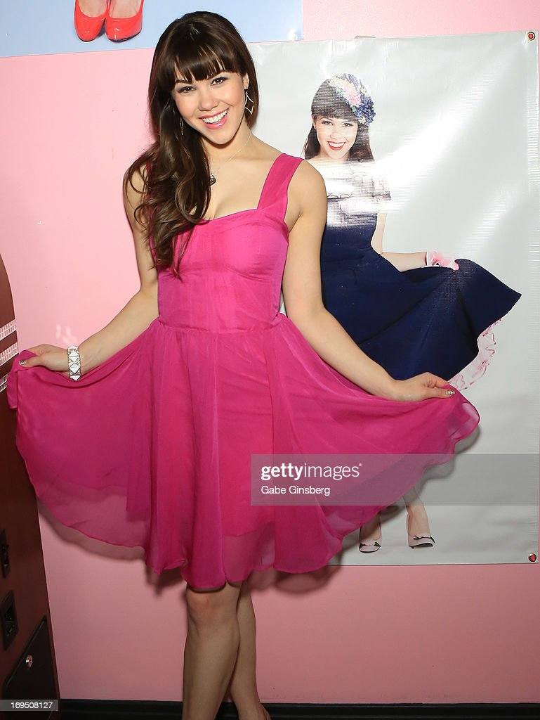 Model Claire Sinclair arrives at the Bettie Page Clothing store inside the Miracle Mile Shops at Planet Hollywood Resort & Casino on May 25, 2013 in Las Vegas, Nevada.
