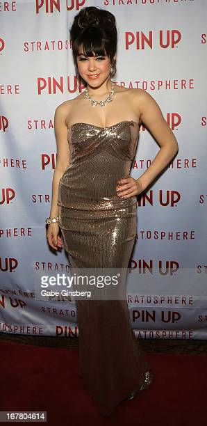 Model Claire Sinclair arrives at the premiere of the show Pin Up at the Stratosphere Casino Hotel on April 29 2013 in Las Vegas Nevada