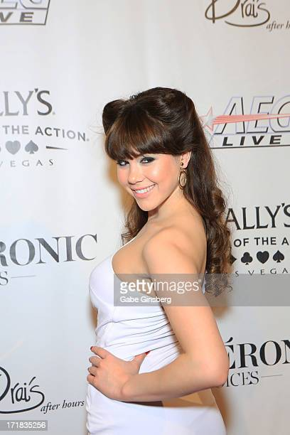 Model Claire Sinclair arrives at the premiere of the show Veronic Voices at Bally's Las Vegas on June 28 2013 in Las Vegas Nevada