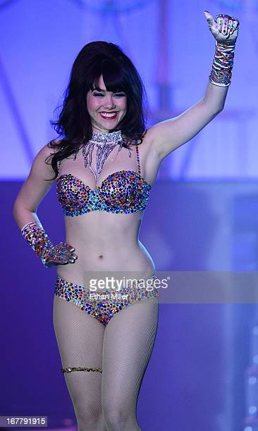 Model Claire Sinclair performs during the premiere of the show Pin Up at the Stratosphere Casino Hotel on April 29 2013 in Las Vegas Nevada