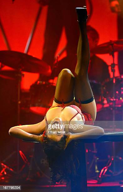 Model Claire Sinclair performs during the premiere of the show 'Pin Up' at the Stratosphere Casino Hotel on April 29 2013 in Las Vegas Nevada