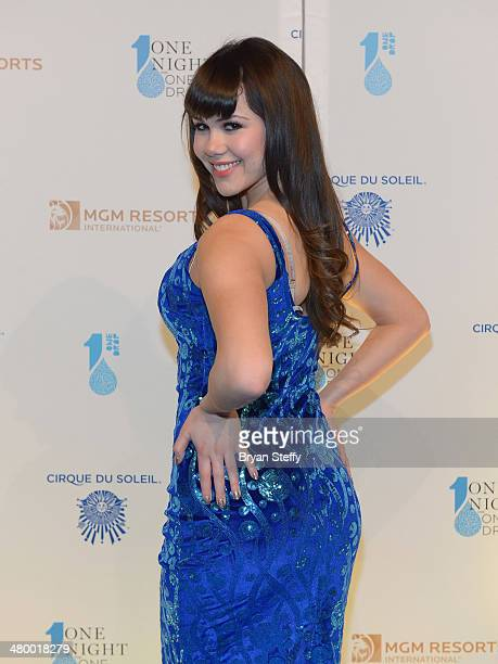 Model Claire Sinclaire arrives at the 2nd annual 'One Night for One Drop' at Aureole Las Vegas at the Mandalay Bay Resort and Casino on March 21 2014...