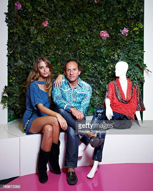 Model Clara Alonso and designer Custo Dalmau are photographed for Elle Magazine Spain on September 11 2008 in Madrid Spain
