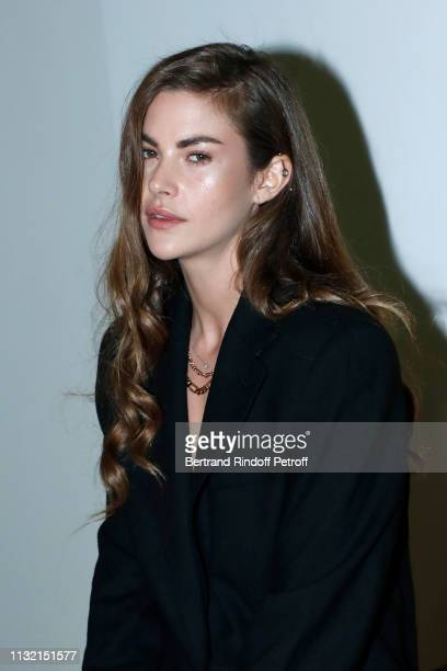 """Model Clara Berry attends the launch of Evian and Virgil Abloh's limitededition """"One Drop can make a Rainbow"""" collection at Theatre National de..."""