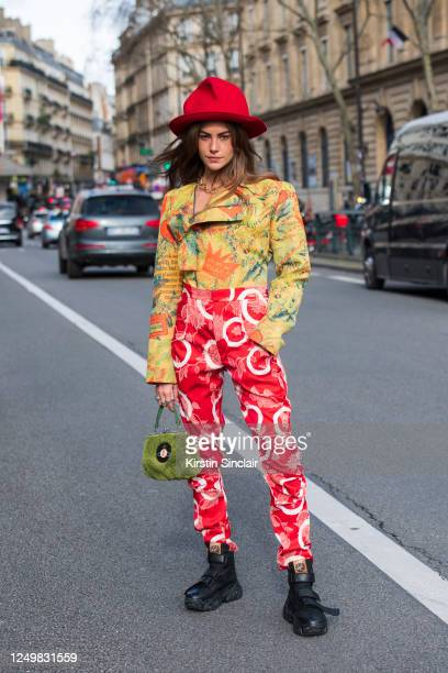 Model Clara Berry wears all Vivienne Westwood with Vivienne Westwood for Buffalo trainers on February 29, 2020 in Paris, France.