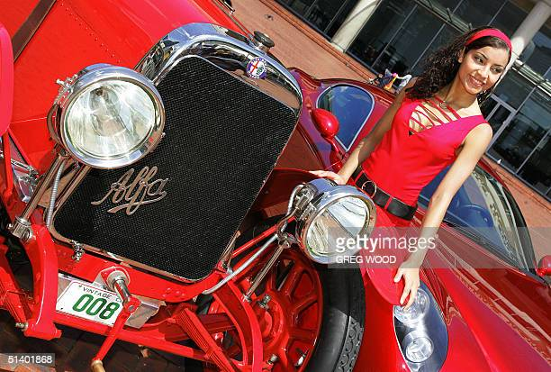 Model Claudia Gutierrez shows off a 63 litre straight six Alfa Romeo G1 originally imported new into Australia in 1921 and now the only one left in...