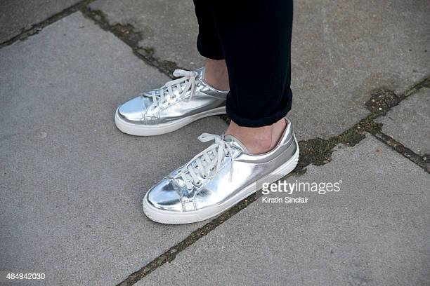 Model Claudia Kozik wears Reebok shoes on February 24 2015 in London England