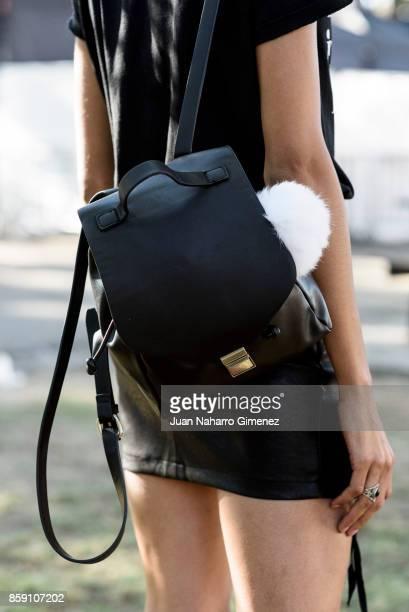 Model Claudia Morais wears Bershka boots miniskirt handbag and Tshirt during Lisbon Fashion Week 'ModaLisboa' Spring/Summer 2018 at Pavilhao Carlos...