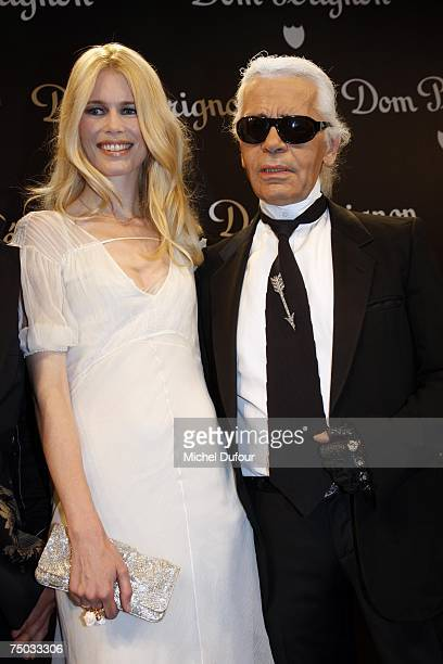 Model Claudia Schiffer and designer Karl Lagerfeld attends the Karl Lagerfeld party hosted by Dom Perignon at Lagerfeld's home on July 4 2007 in...