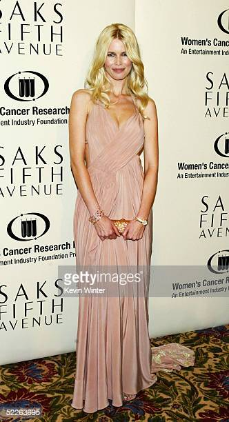 Model Claudia Schiffer arrives at Saks Fifth Avenue's Unforgettable Evening at the Regent Beverly Wilshire on March 1, 2005 in Beverly Hills,...
