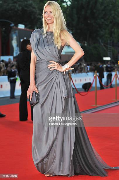 Model Claudia Schiffer arrives at the opening ceremony and 'Burn After Reading' Premiere during the 65th Venice Film Festival at Sala Grande on...