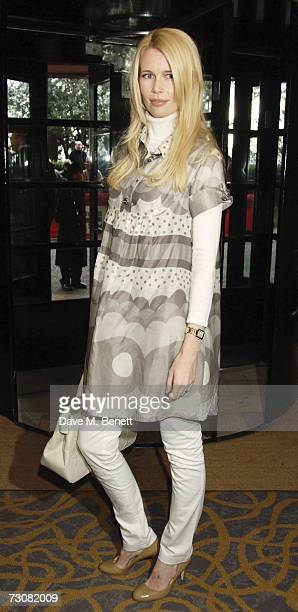 Model Claudia Schiffer arrives at the South Bank Show Awards at The Savoy Hotel on January 23 2007 in London England
