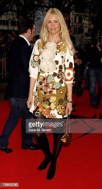 Model Claudia Schiffer arrives at the UK film premiere of 'Spider-Man 3', at the Odeon Leicester Square on April 23, 2007 in London, England.
