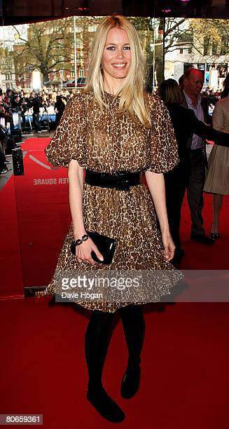 Model Claudia Schiffer arrives at the UK premiere of 'Flashbacks of a Fool' at the Empire cinema Leicester Square on April 13 2008 in London England