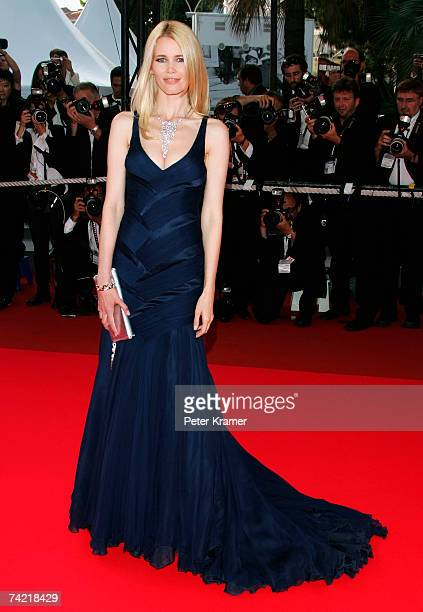 "Model Claudia Schiffer attends a premiere promoting the film ""Le Scaphandre Et Le Papillon"" at the Palais des Festivals during the 60th International..."