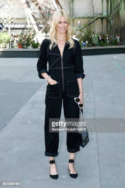 Model Claudia Schiffer attends the Chanel Haute Couture Fall/Winter 20172018 show as part of Haute Couture Paris Fashion Week on July 4 2017 in Paris...