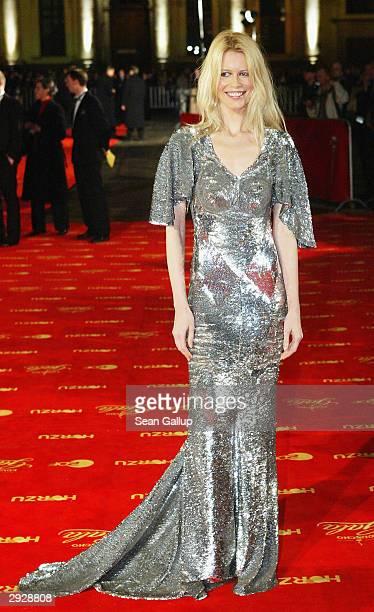 Model Claudia Schiffer attends the Goldene Kamera Film Awards February 4 2004 in Berlin Germany