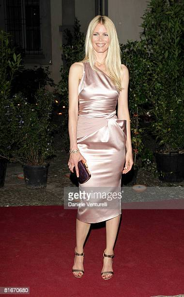 Model Claudia Schiffer attends Uomo Vogue 40th Anniversary Celebration Party as part of Milan Fashion Week Menswear Spring/Summer 2009 on June 22...