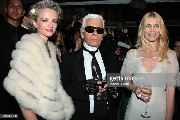 Model Claudia Schiffer Karl Lagerfeld and Delphine Arnault attends the Karl Lagerfeld party hosted by Dom Perignon at Lagerfeld's home on July 4 2007...