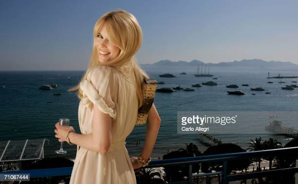 Model Claudia Schiffer, L'Oreal's ambassador, relaxes at the Hotel Martinez on May 27, 2006 in Cannes, France. Her husband Matthew Vaughn is filming...