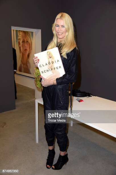 Model Claudia Schiffer signs the photo book 'Claudia Schiffer' at CWC Gallery on November 16 2017 in Berlin Germany