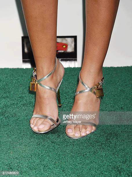 Model Claudine Keane shoe detail at the 2016 Oscar Wilde Awards at Bad Robot on February 25 2016 in Santa Monica California