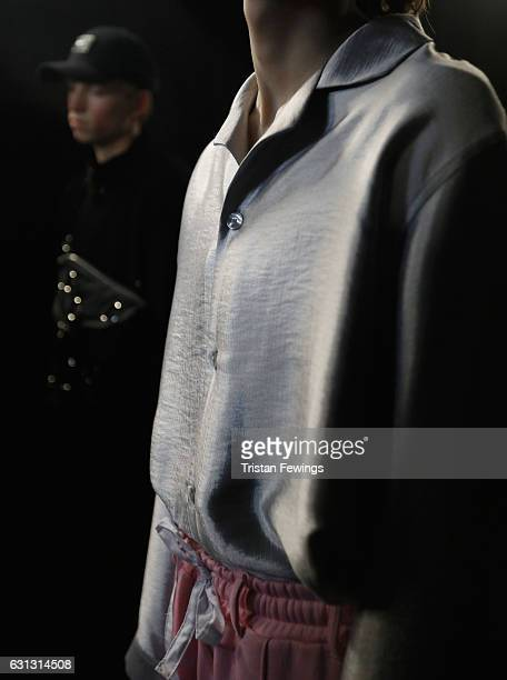 A model clothes detail backstage ahead of the Blood Brother show during London Fashion Week Men's January 2017 collections at BFC Presentation Space...