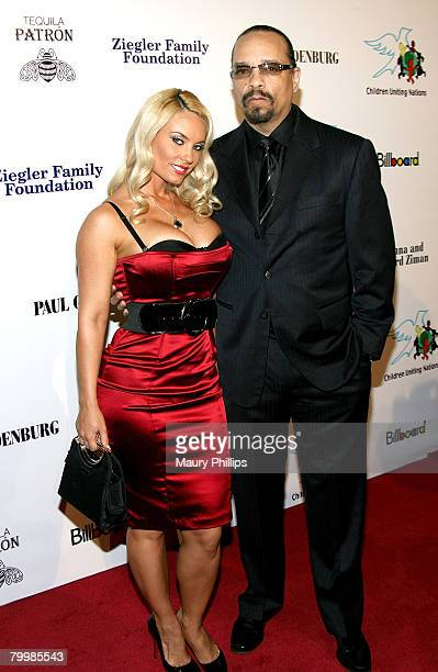 Model CoCo and actor IceT arrive at the Billboard Magazine and Children Uniting Nations Oscar Party on February 24 2008 at the Beverly Hills Hotel in...