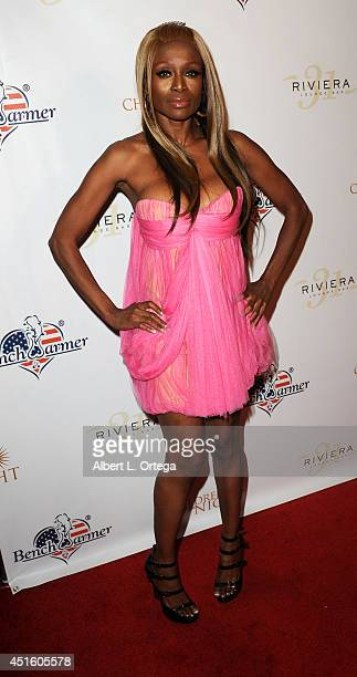 Model Coco Johnson arrives for BenchWarmer's Annual Stars Stripes Celebration held at Riviera 31 on July 1 2014 in Beverly Hills California