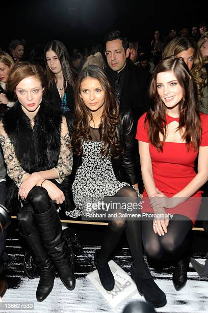 Model Coco Rocha actresses Nina Dobrev and Ashley Greene attend the DKNY Women's Fall 2012 fashion show during MercedesBenz Fashion Week on February...
