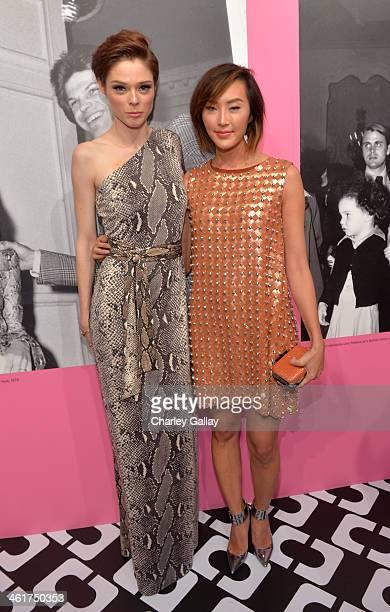 Model Coco Rocha and Chriselle Lim both wearing Diane Von Furstenberg attend Diane Von Furstenberg's Journey of A Dress Exhibition Opening...