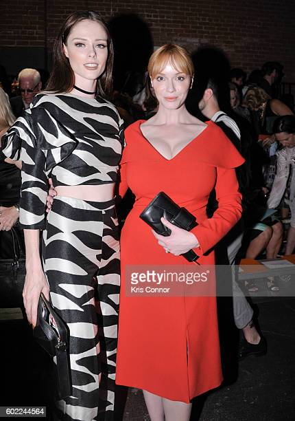 Model Coco Rocha and Christina Hendricks attend the Christian Siriano Fashion show during new York Fashion Week September 2016 at ArtBeam in New York...