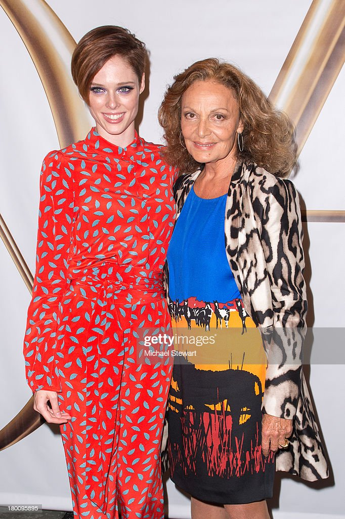 Model Coco Rocha (L) and designer Diane Von Furstenberg attend the Diane Von Furstenberg show during Spring 2014 Mercedes-Benz Fashion Week at The Theatre at Lincoln Center on September 8, 2013 in New York City.