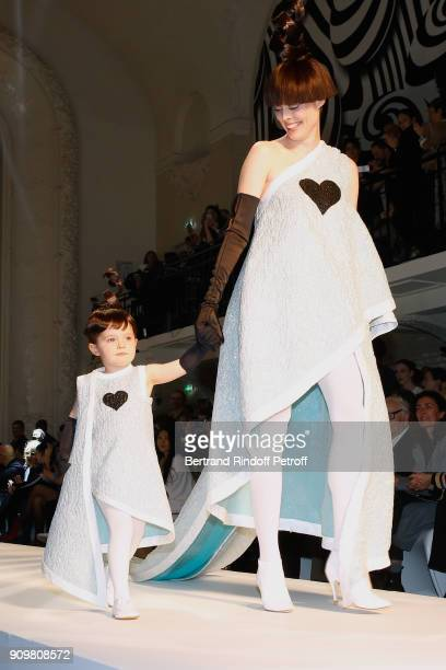 Model Coco Rocha and her daughter Ioni Conran walk the runway during the JeanPaul Gaultier Spring Summer 2018 show as part of Paris Fashion Week on...