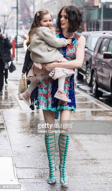Model Coco Rocha and her daughter Ioni James Conran are seen arriving to Christian Siriano fashion show during New York Fashion Week at Grand Lodge...