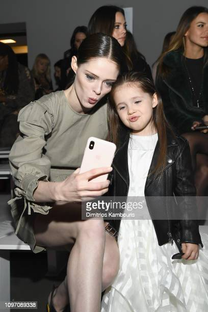 Model Coco Rocha and her daughter Ioni James Conran attend the Rebecca Minkoff front row during New York Fashion Week The Shows at Gallery I at...
