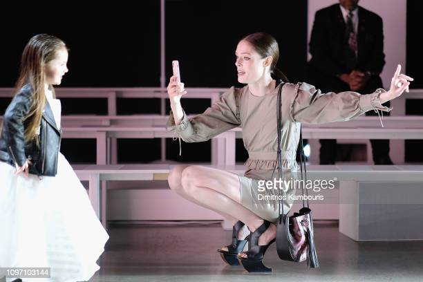 Model Coco Rocha and her duaghter Ioni James Conran attend the Rebecca Minkoff front row during New York Fashion Week The Shows at Gallery I at...