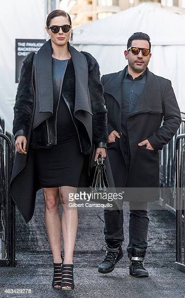 Model Coco Rocha and husband James Conran are seen leaving Rebecca Minkoff fashion show during MercedesBenz Fashion Week Fall 2015 at Lincoln Center...
