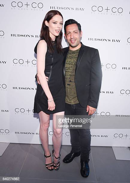 Model Coco Rocha and husband James Conran attend Coco Rocha Launch Of COCO at Hudson's Bay on June 14 2016 in Toronto Canada