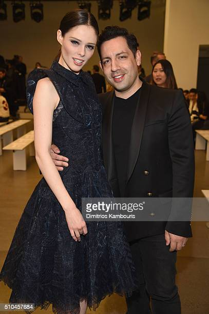 Model Coco Rocha and James Conran attend the Zac Posen Fall 2016 fashion show during New York Fashion Week at Spring Studios on February 15 2016 in...