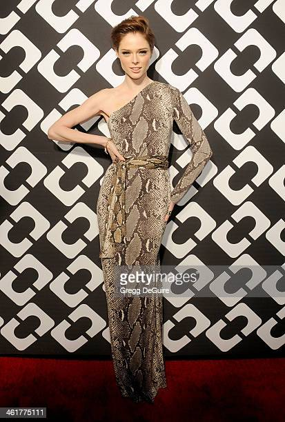 Model Coco Rocha arrives at Diane Von Furstenberg's 'Journey Of A Dress' premiere opening party at Wilshire May Company Building on January 10 2014...