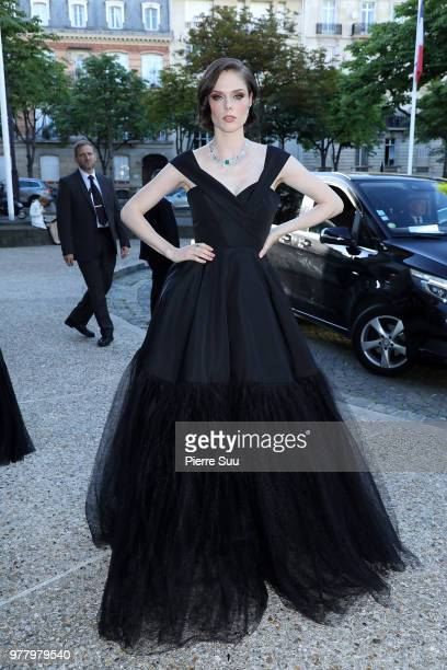 Model Coco Rocha arrives at the launch of Piaget's new sunlight escape high jewellery collection at Palais D'iena on June 18 2018 in Paris France